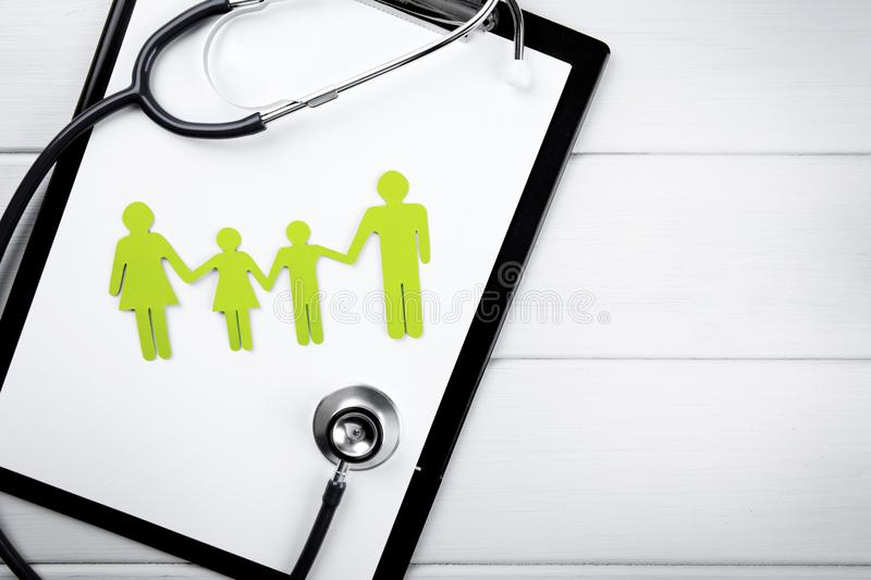 Family health and life insurance concept. Copy space stock photo