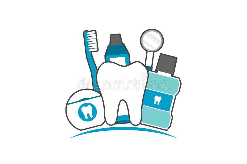 Family of healthy teeth and friend, dental care concept. Tooth cartoon vector flat style for design, best friend - healthy teeth family with toothbrush stock illustration