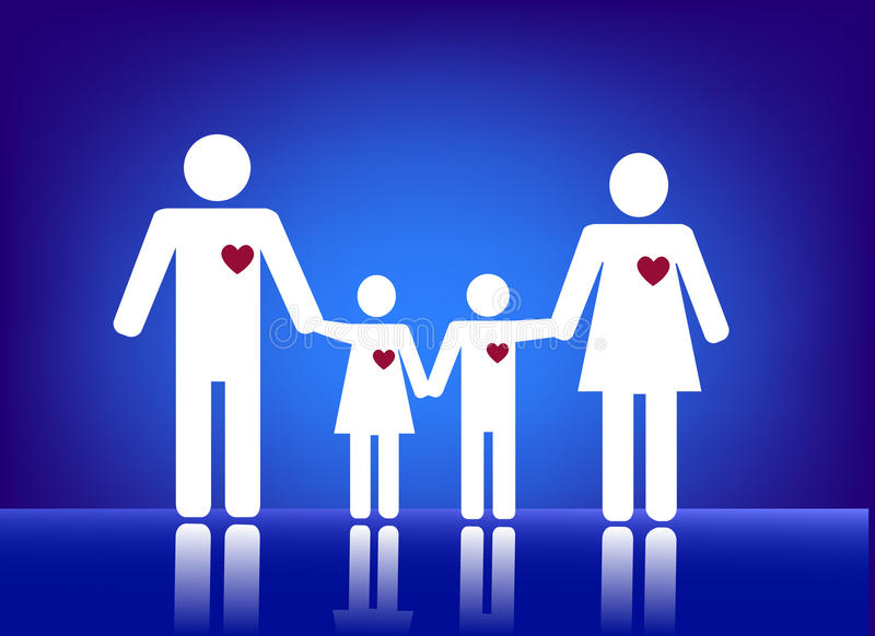 Family with heart. Illustration of family on a blue background royalty free illustration