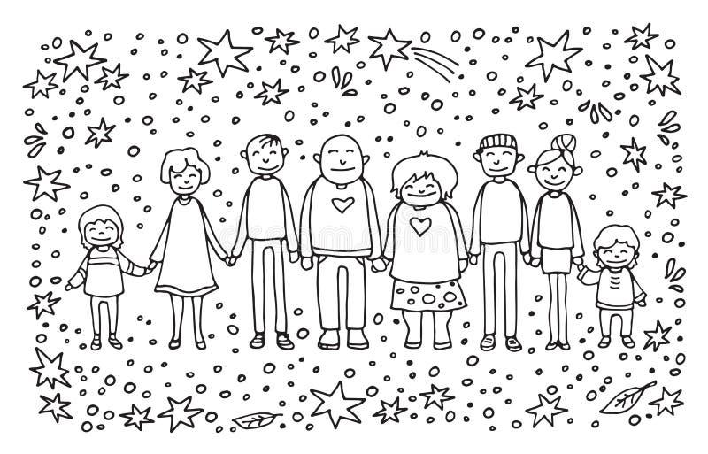 Family-13 heureux illustration stock