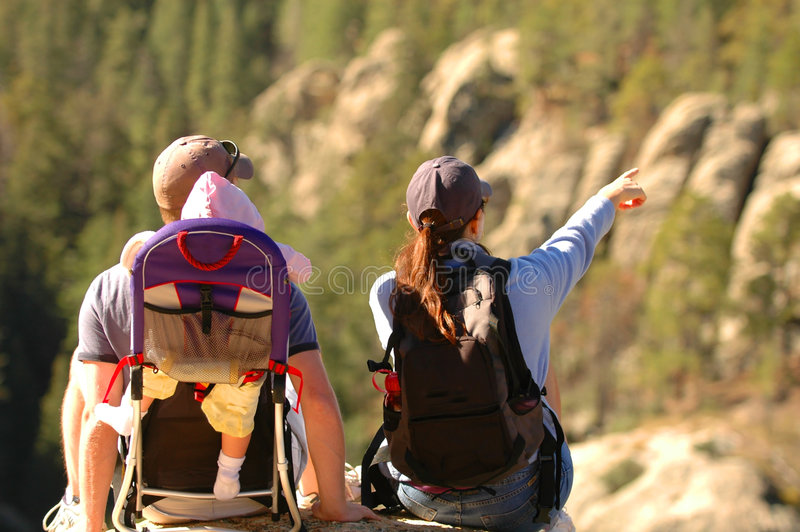Family on hike royalty free stock photo