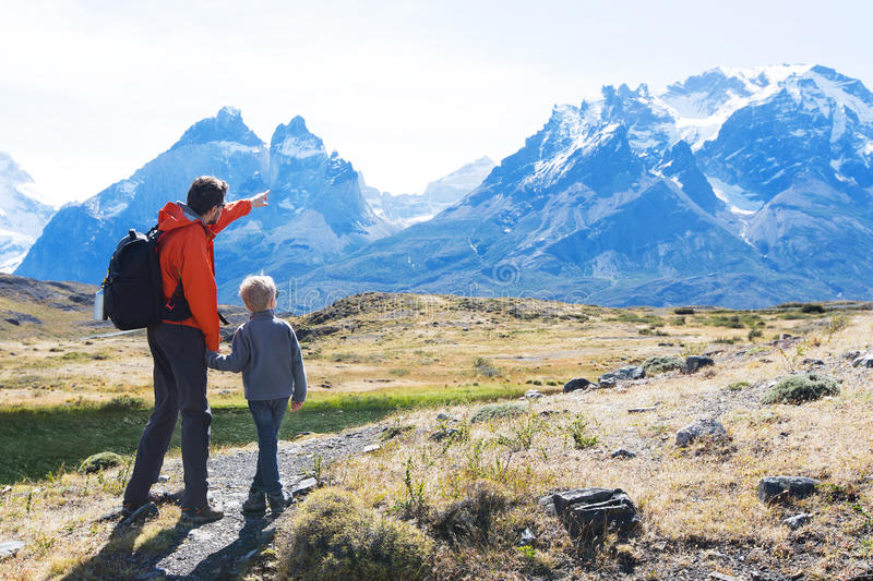 Family hiking in patagonia stock image