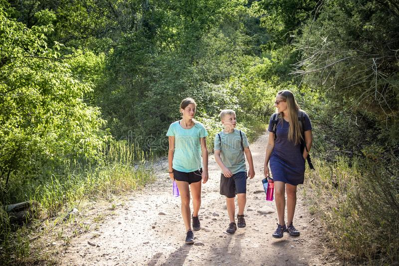 Family hiking on a scenic mountain trail talking to each other royalty free stock image