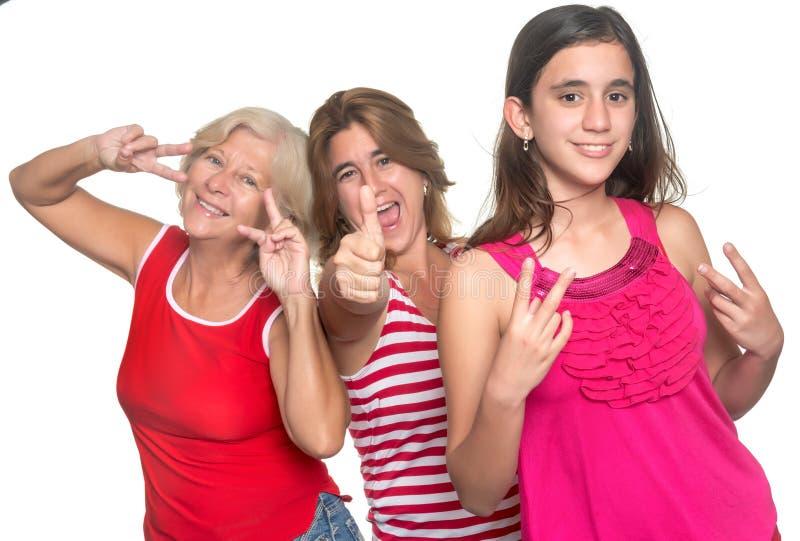 Family of hispanic women having fun royalty free stock photo