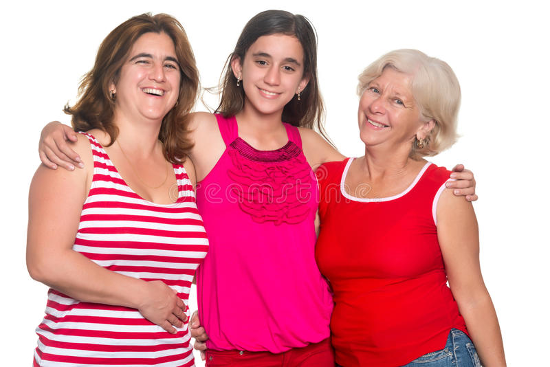 Family of hispanic women isolated on a white background stock images