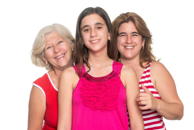 Family of hispanic women isolated on white stock photos