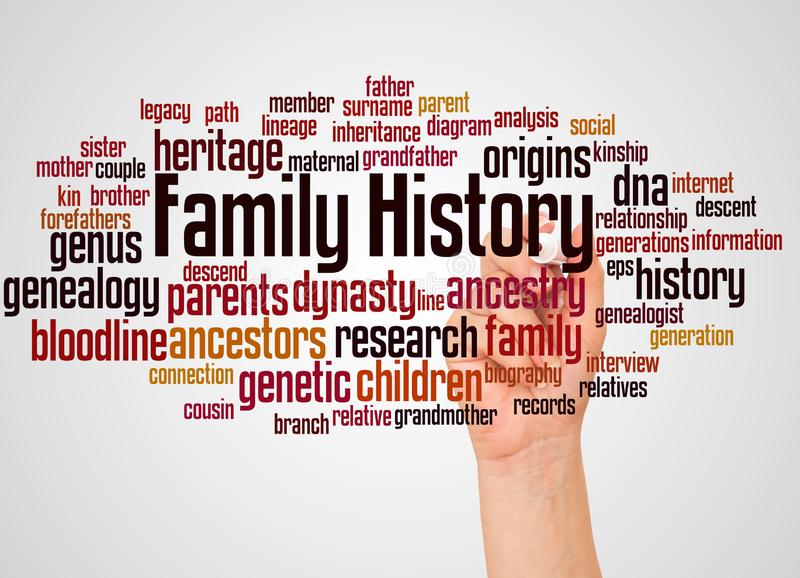 Family History word cloud and hand with marker concept. On white background royalty free stock image