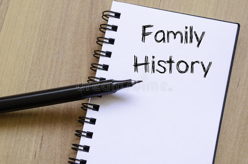 Family history write on notebook. Family history text concept write on notebook with pen stock photo