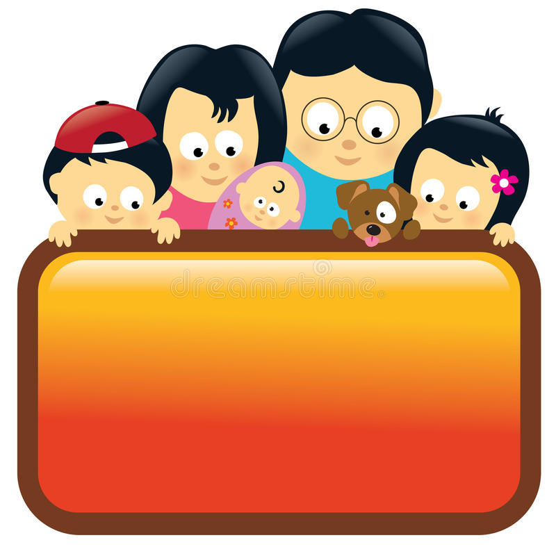 Download Family Holding Sign - Asian Stock Vector - Illustration: 14051305