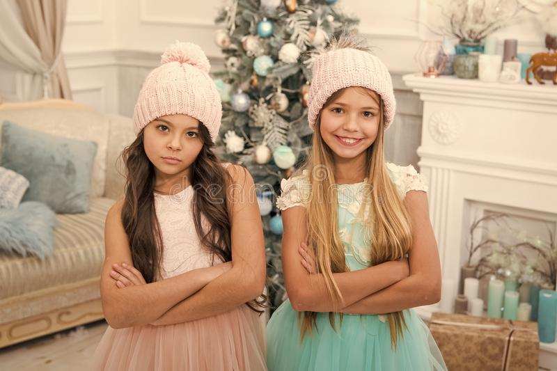 Family holiday. Cute little children girl with xmas present. happy little girls sisters celebrate winter holiday. Christmas time. happy new year. delivery stock images
