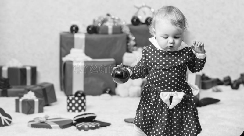 Family holiday. Gifts for child first christmas. Christmas activities for toddlers. Christmas miracle concept. Things to. Do with toddlers at christmas. Little royalty free stock images