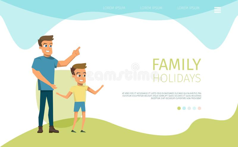 Family Holidays Flat Vector Landing Page Template. Happy Family Holidays Leisure Flat Vector Web Banner or Landing Page with Smiling Father and Son Spending Time royalty free illustration