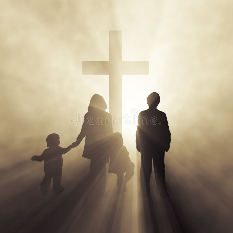 family before holy cross stock illustration
