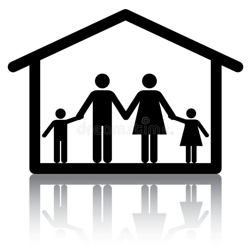 Family Home. Family holding hands inside a home. Conceptual image or icon for subjects related to family home, housing and real estate