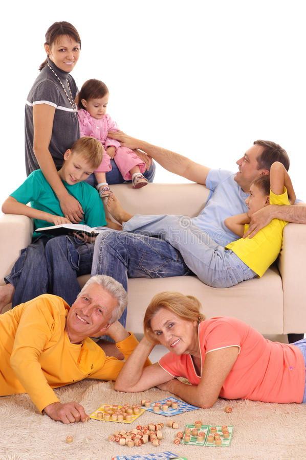 Family at home. Cute family having a fun at home stock photo