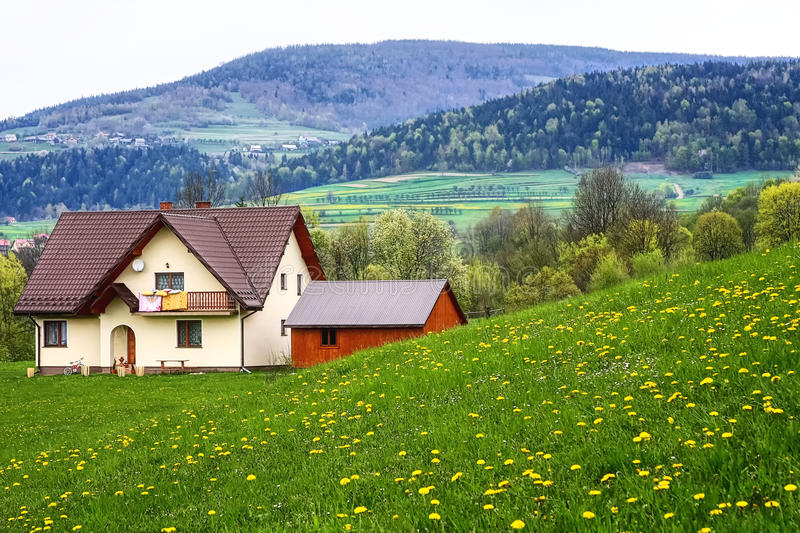 The family home. In the mountains stock photo