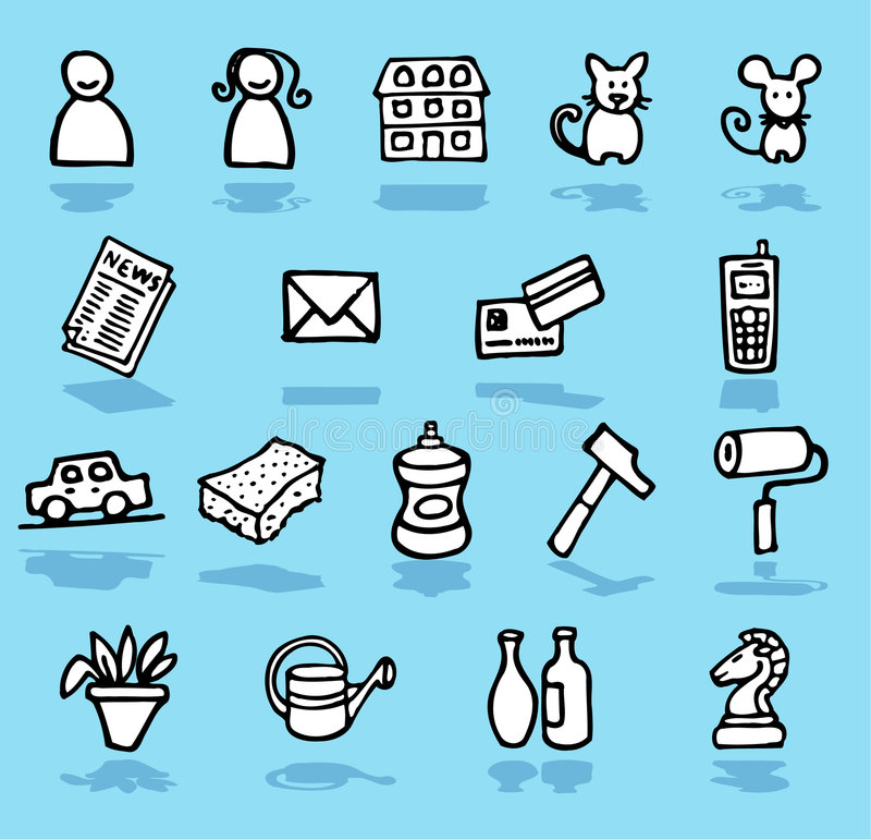 Family,home,adults icons set. Vector black and white hand-drawn icons on blue stock illustration