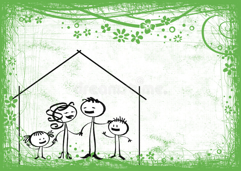 Family home and countryside royalty free illustration