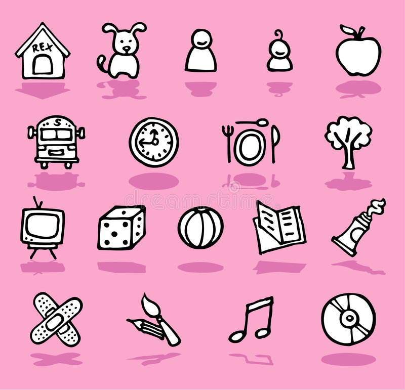 Family,home,kids icons set. Vector black and white hand-drawn icons on pink vector illustration