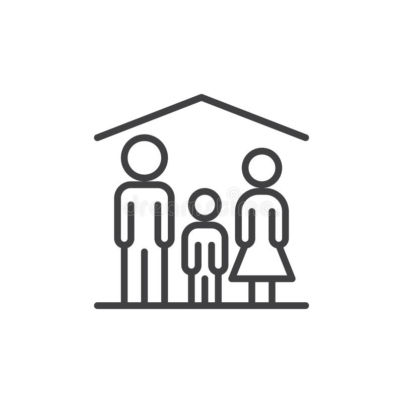 Family home line icon, outline vector sign, linear style pictogram isolated on white. vector illustration