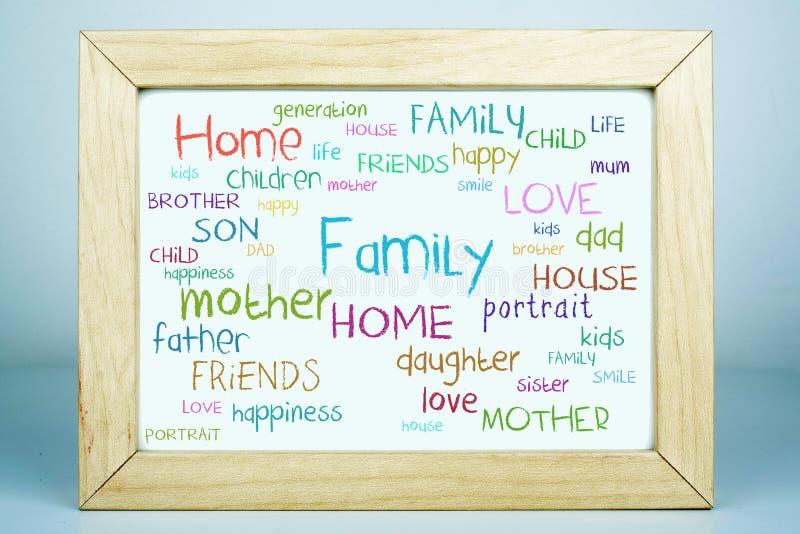 Family Home Word Cloud Concept stock photos