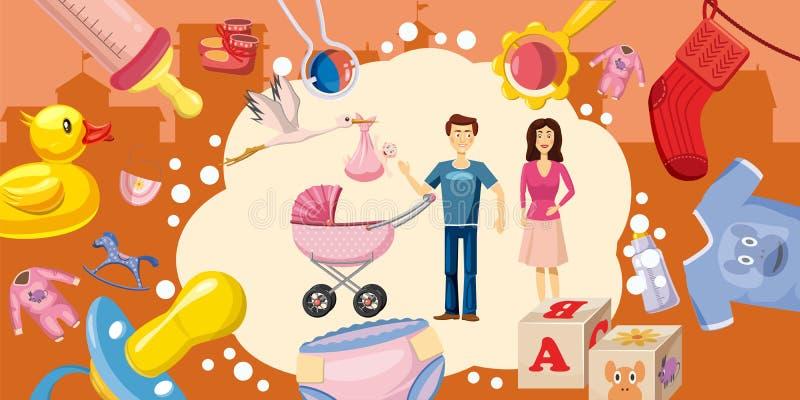 Family horizontal banner goods, cartoon style. Family horizontal banner concept goods. Cartoon illustration of family goods vector horizontal banner for web vector illustration