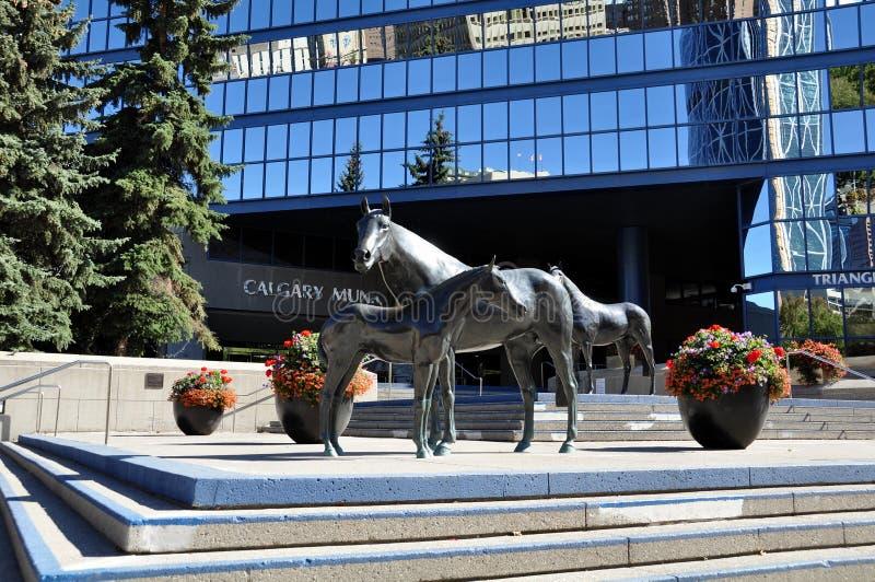 Family of Horses, in Municipal Plaza stock photo