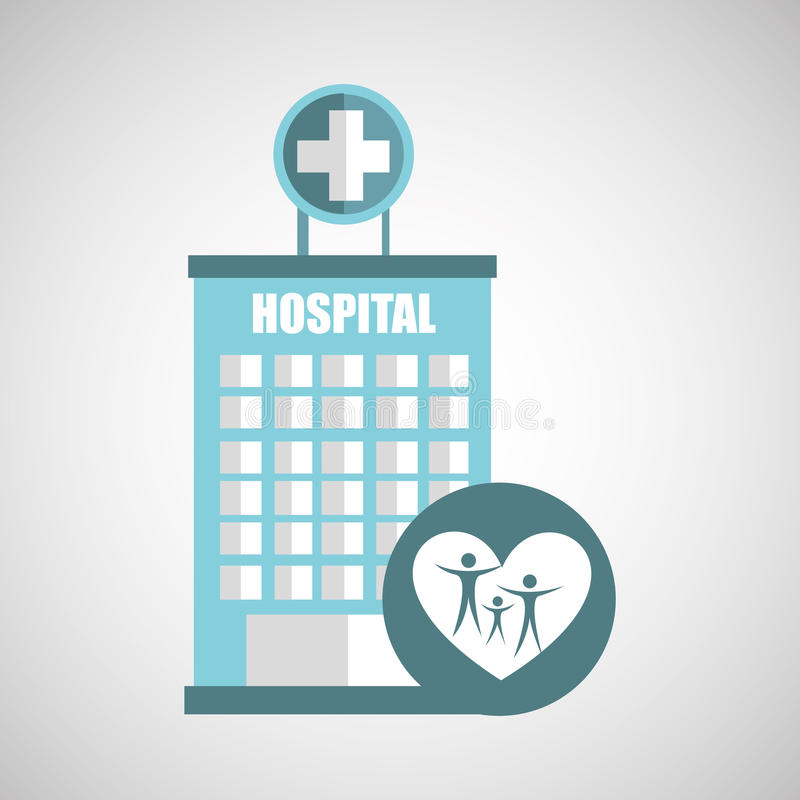 Family hospital icon building cross. Illustration eps 10 royalty free stock photography