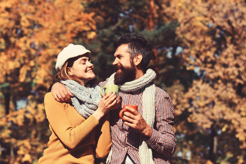 Family and hot autumn drink concept. Couple in love stock photography