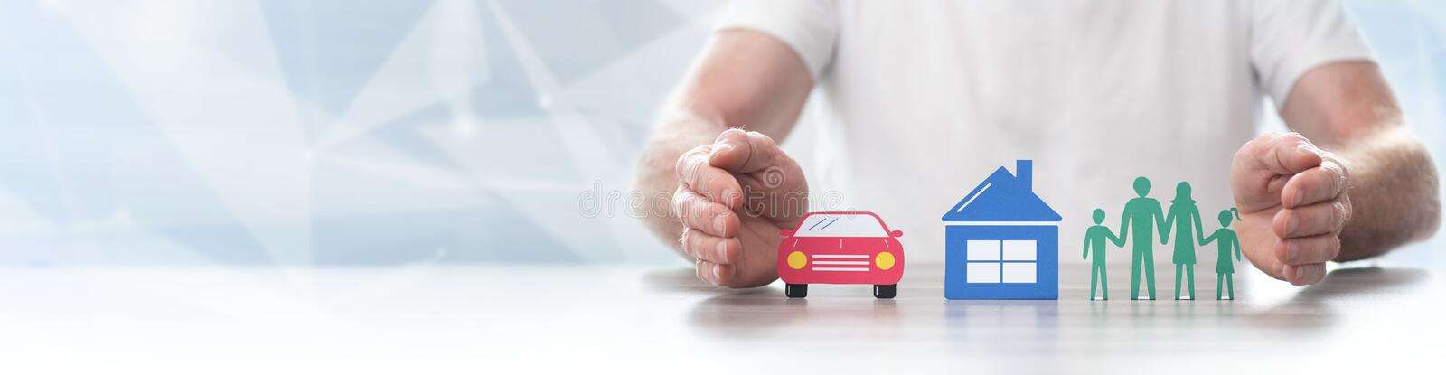 Concept of life, home and auto insurance- Panoramic banner. Family, house and car protected by hands - Concept of life, home and auto insurance - Panoramic stock photos