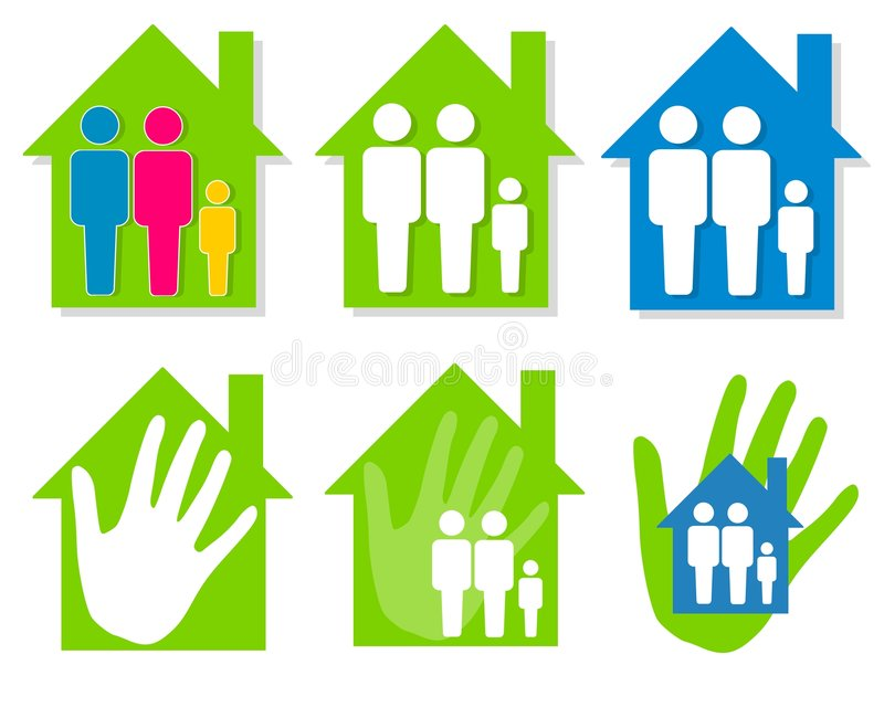 Family and House Clip Art. An illustration featuring an assortment of family and house themes