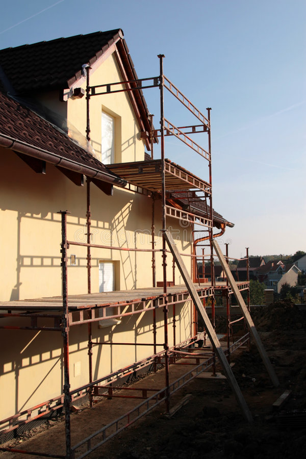 Family house construction stock images