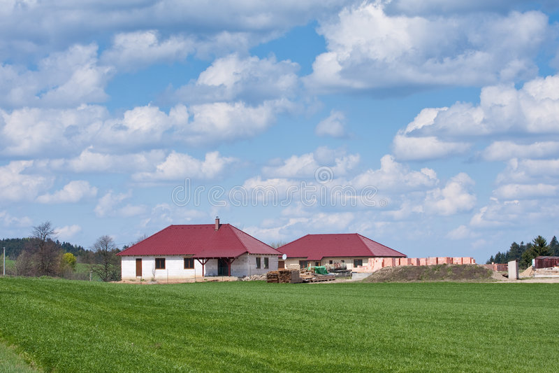Family house construction stock photography