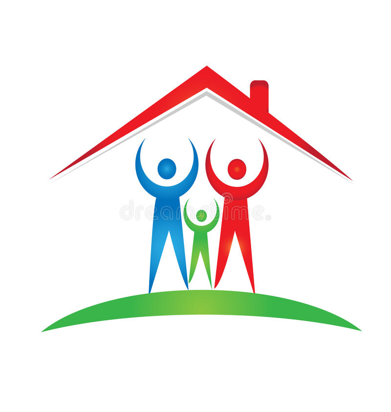 Family and house foundation logo. Vector design stock illustration