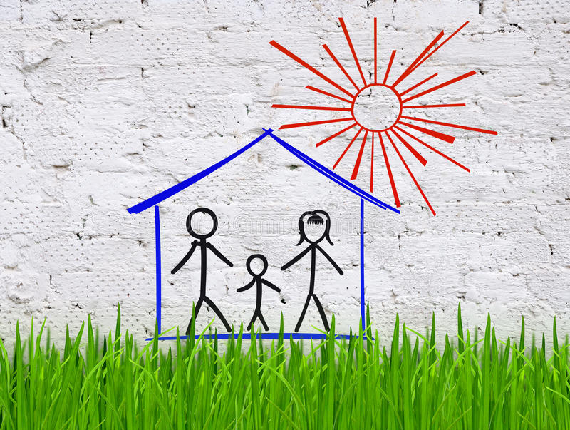 The family in the house. Grass against a brick wall with a picture of the family in the house stock illustration