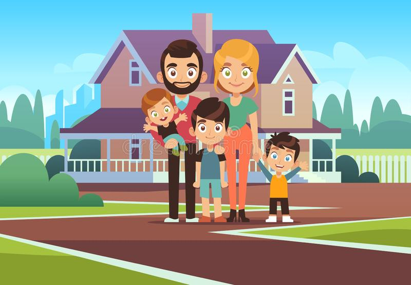 Family house. Happy young parents father mother son daughter kids outdoors front home building lifestyle cartoon vector vector illustration