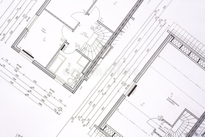 Family house plans royalty free stock photo
