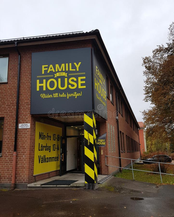 Family House store in Hagfors, Sweden. Hagfors, Sweden October 11, 2019. Family House store sign and entrance royalty free stock photos