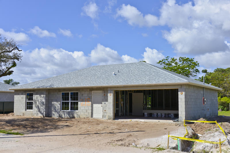 Family house under construction stock image image of for Concrete homes florida