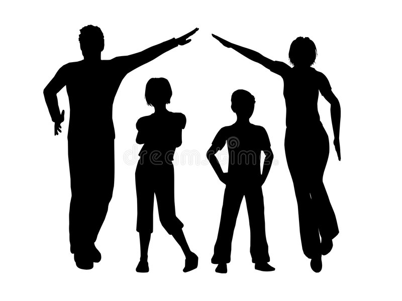 Family house vector. Family pearent making house vector silhouette