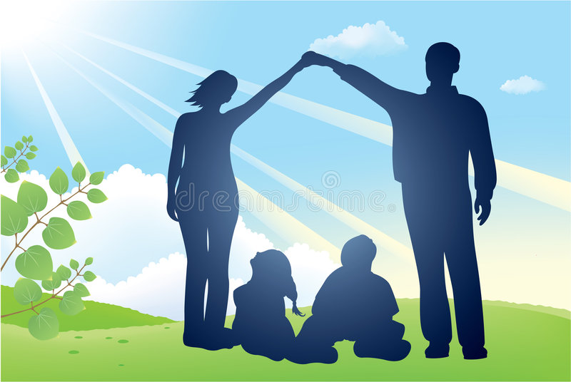Family house vector silhouette royalty free stock photo