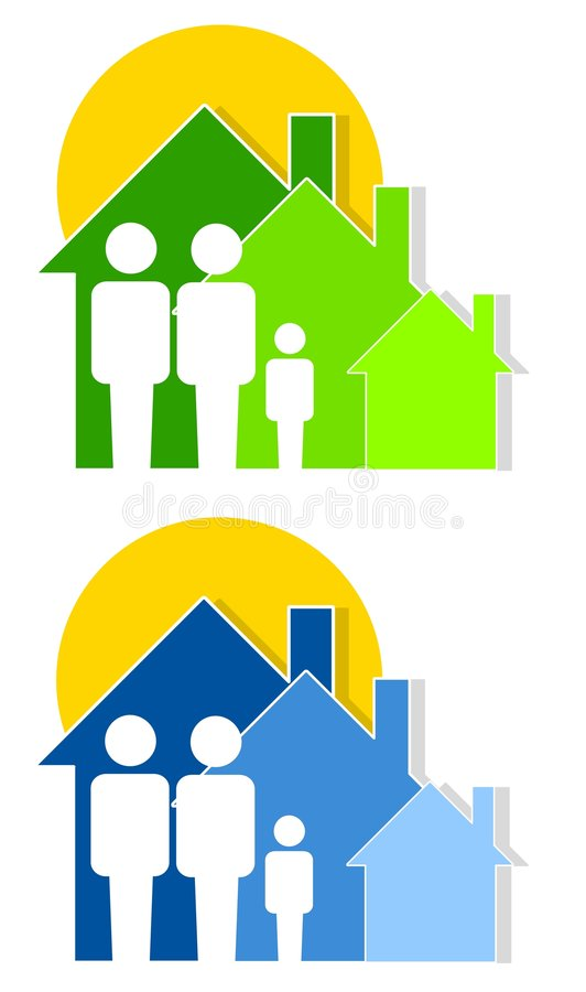 Family Housing and Shelter. An illustration featuring family silhouettes with houses and sun to represent social services, family housing, shelters, and related