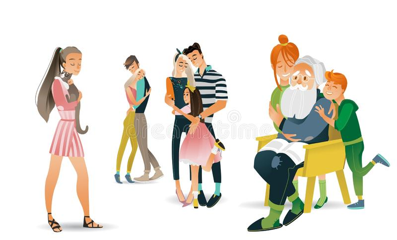 Family hug vector illustration set - various scenes with people embracing each other with love. Family hug vector illustration set - various scenes with people royalty free illustration