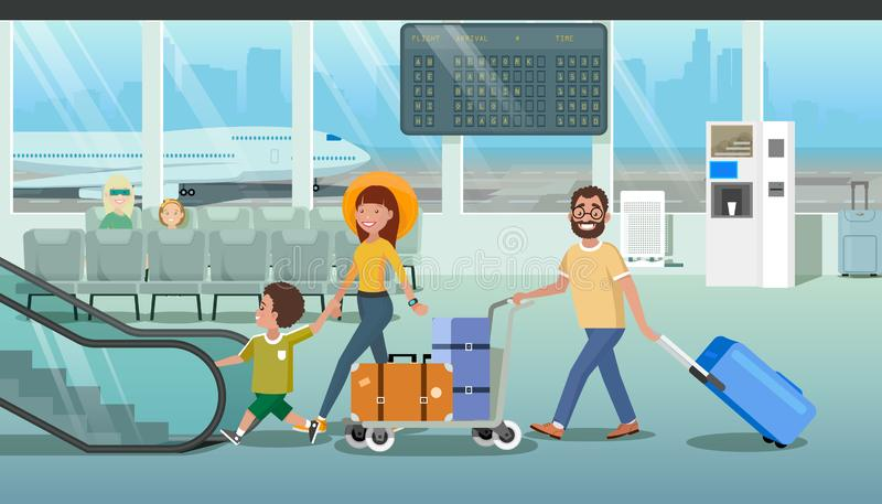 Family Hurrying to Board Plane in Airport Vector stock illustration