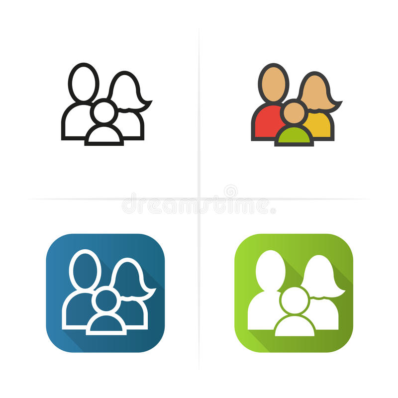 Family icon. Flat design, linear color styles. Isolated vector illustrations. Family icon. Flat design, linear color styles. Isolated vector illustrations stock illustration
