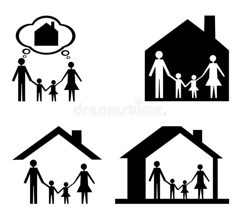 Family icon and house vector illustration