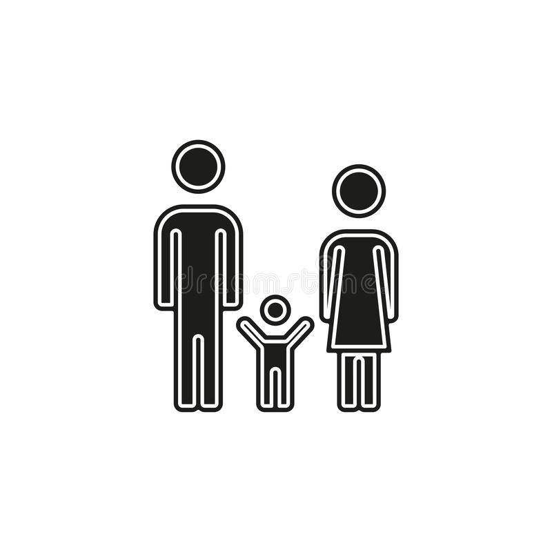 Family icon - people silhouette, father mother child illustration - parent set. Flat pictogram - simple icon stock illustration