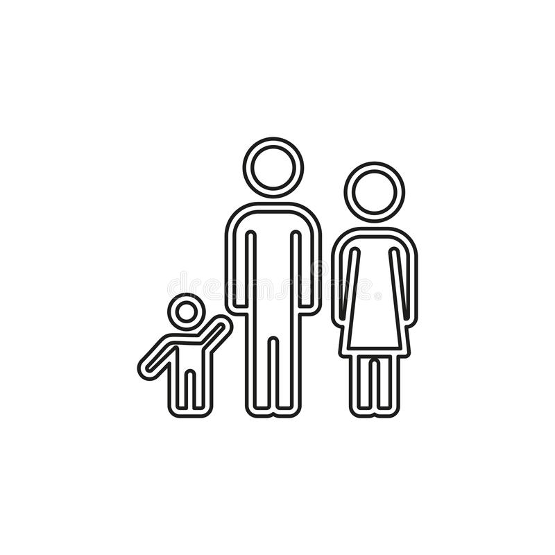 Family icon people silhouette, father mother child. Family icon - people silhouette, father mother child illustration - parent set. Thin line pictogram - outline royalty free illustration