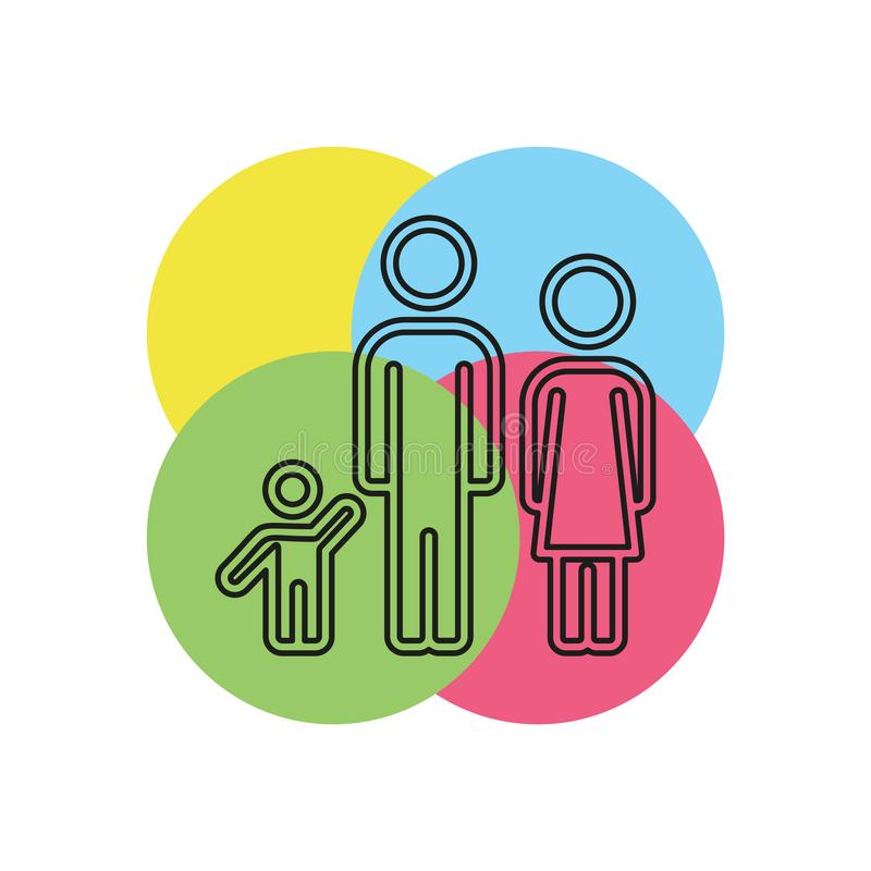 Family icon people silhouette, father mother child. Family icon - people silhouette, father mother child illustration - parent set. Thin line pictogram - outline stock illustration