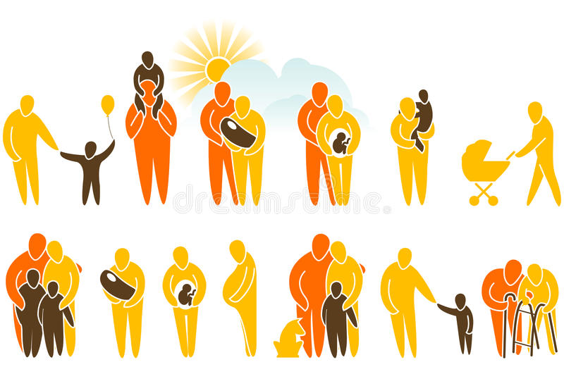 Download Family icon set stock vector. Image of newborn, holding - 12357839